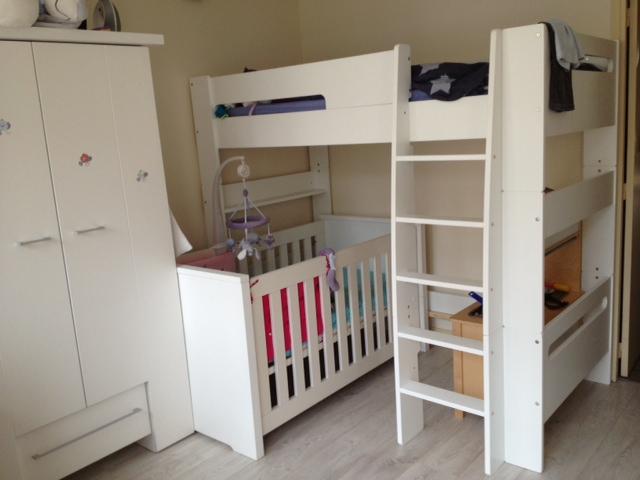 Pack lit mezzanine enfant wax blanc - Lit superpose avec lit bebe ...