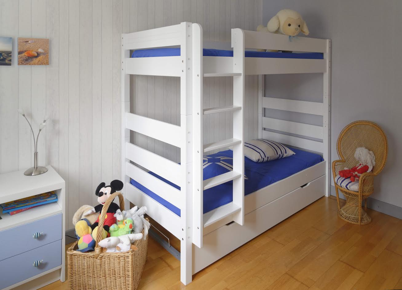 lit superpos kids blanc 90x190 cm avec sommier gigogne. Black Bedroom Furniture Sets. Home Design Ideas