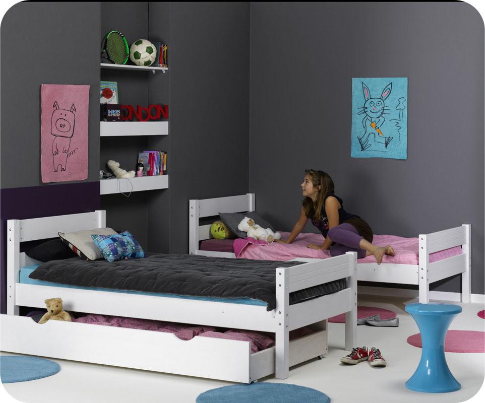 Pack lit superpos enfant 1 2 3 blanc 90x190 cm avec 2 matelas - Lit superpose 3 lits ...
