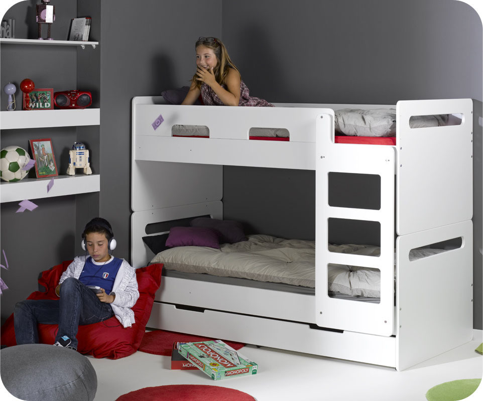 Lit superpos enfant eden blanc 90x190 cm - Lit superpose enfants ...