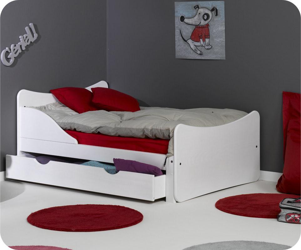 pack lit enfant volutif ivoo blanc avec matelas et tiroir. Black Bedroom Furniture Sets. Home Design Ideas