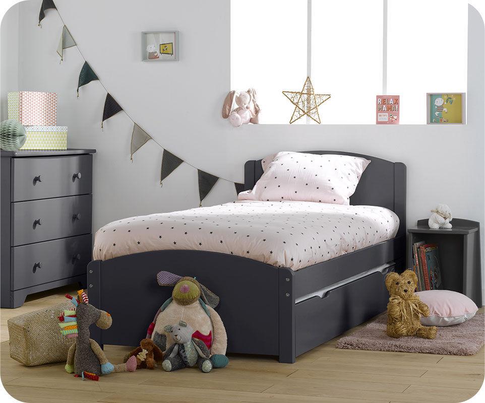 pack lit enfant nature gris sommier matelas natura. Black Bedroom Furniture Sets. Home Design Ideas
