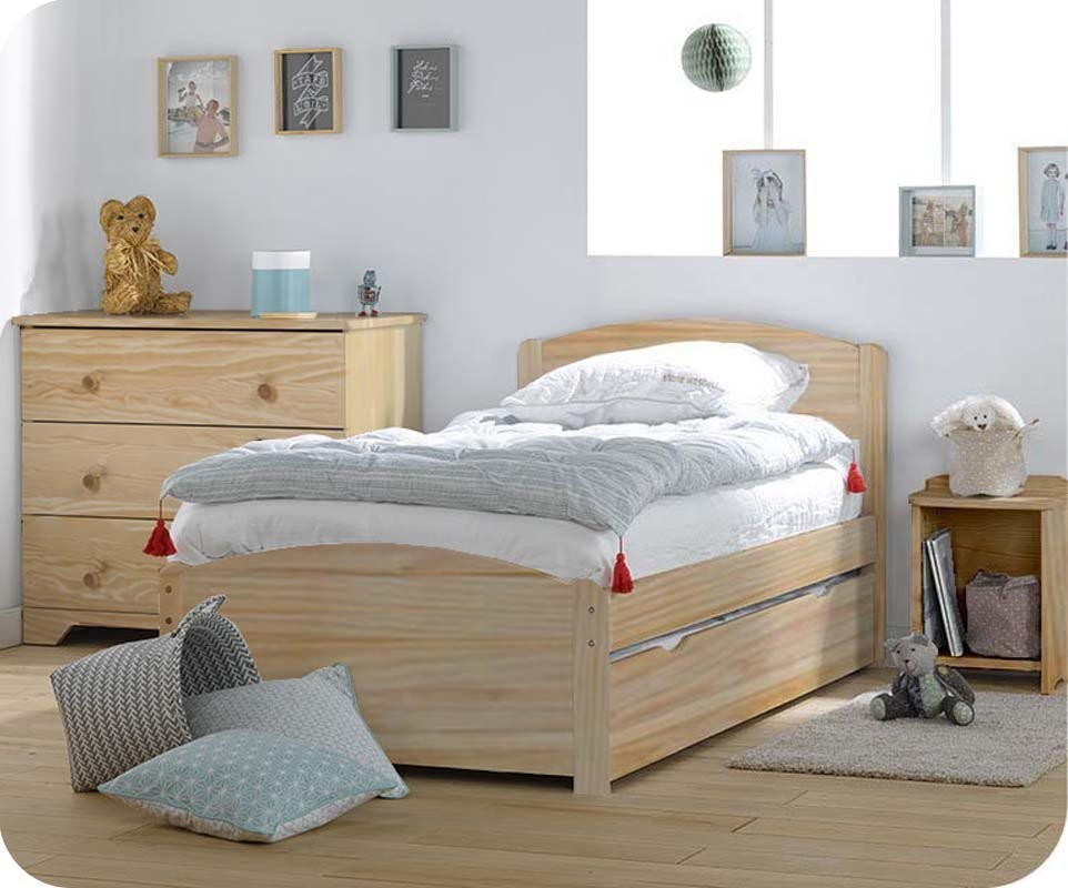 pack lit enfant nature brut 90x190 cm avec sommier et matelas. Black Bedroom Furniture Sets. Home Design Ideas