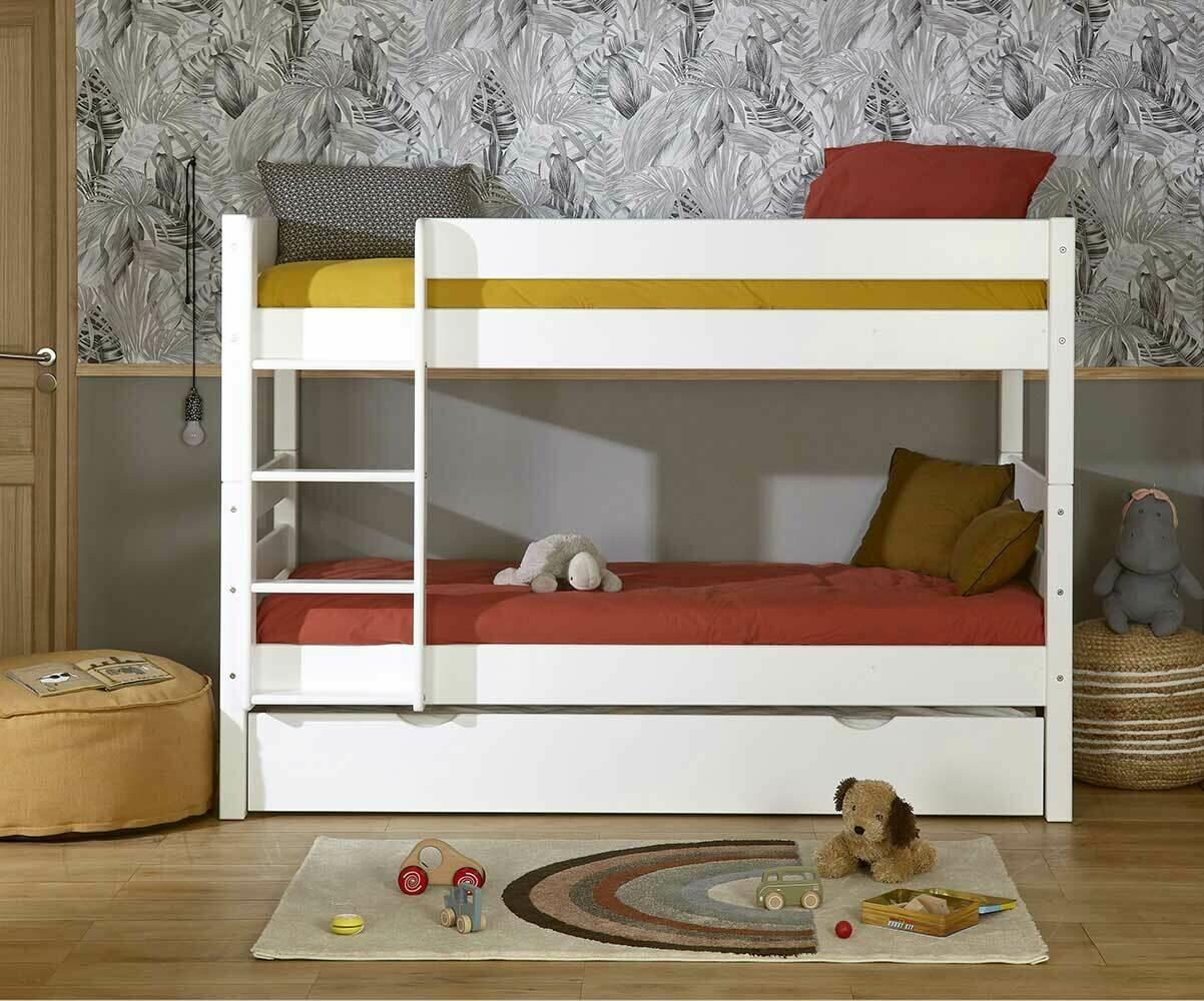 Lit superpos enfant 1 2 3 brut peindre 90x190 cm avec 2 for Lit superpose petite chambre