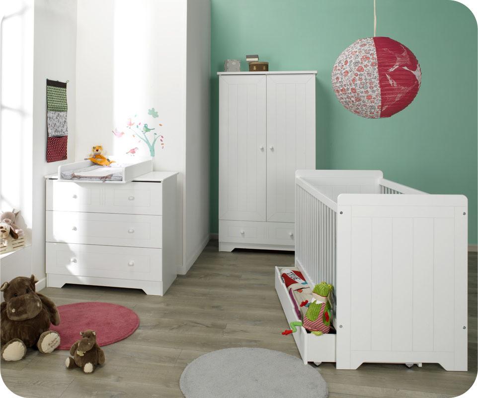 Chambre b b compl te oslo blanche chambre b b design et cologique for Chambre bebe fille blanche