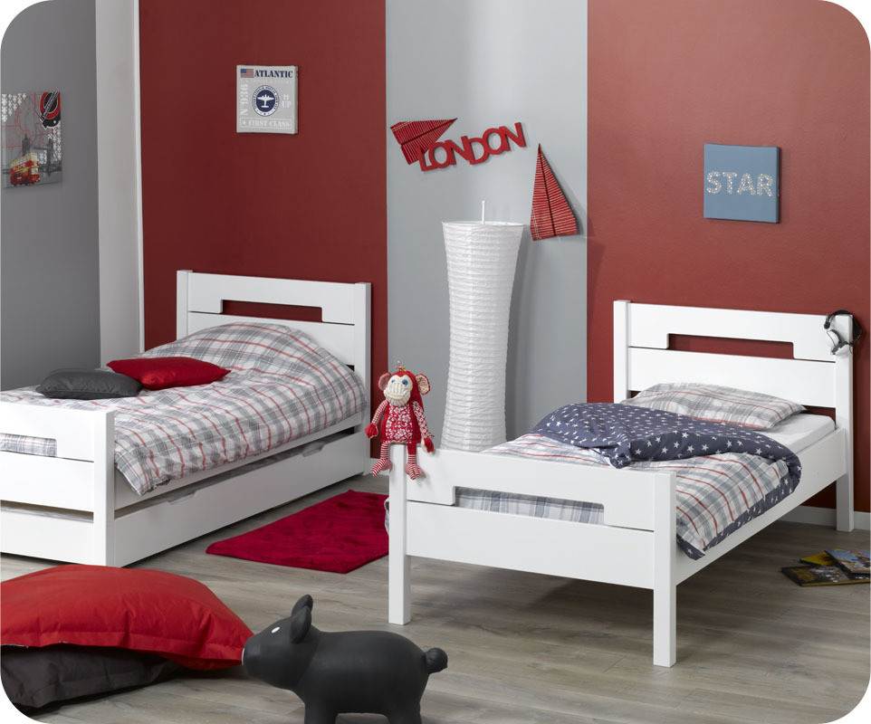 pack lit superpos enfant bow blanc 90x190 cm avec 2 matelas. Black Bedroom Furniture Sets. Home Design Ideas