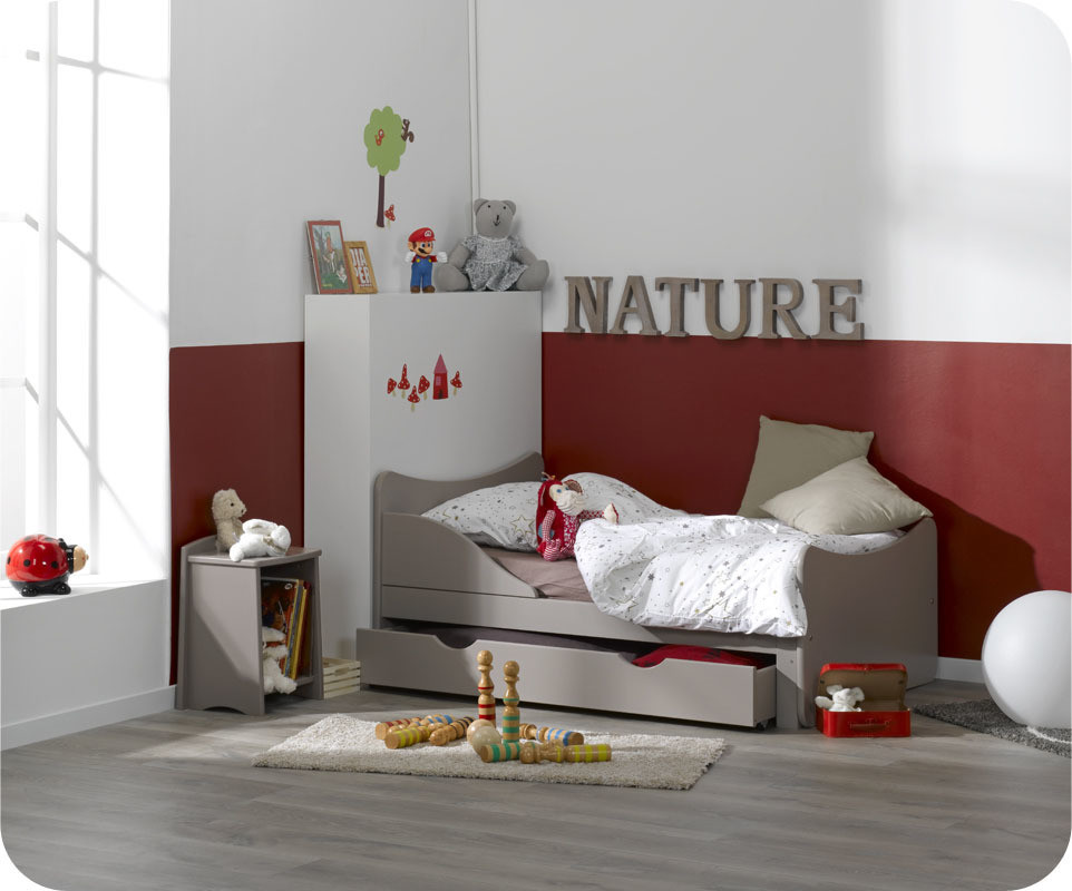 pack lit enfant volutif ivoo lin avec matelas et tiroir ma chambre d 39 enfant. Black Bedroom Furniture Sets. Home Design Ideas