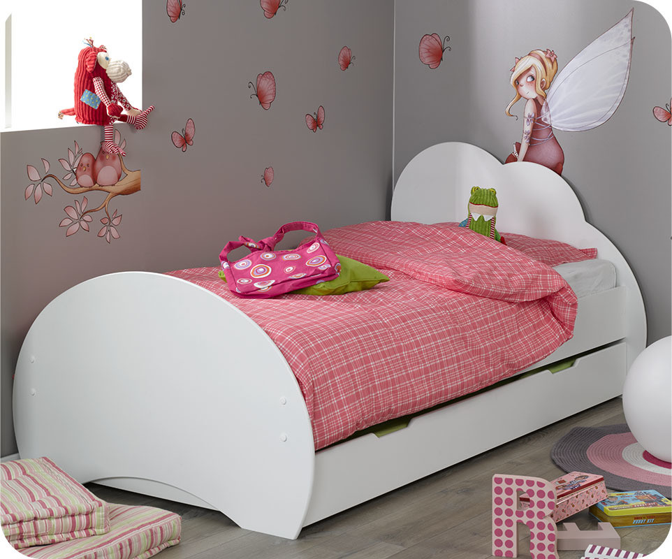 lit enfant nuage blanc 90x190 cm avec sommier et matelas. Black Bedroom Furniture Sets. Home Design Ideas