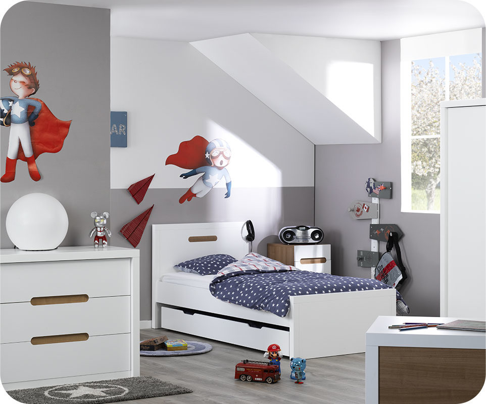 Lit enfant bow blanc 90x200 cm ma chambre d 39 enfant for Machambre d enfant com