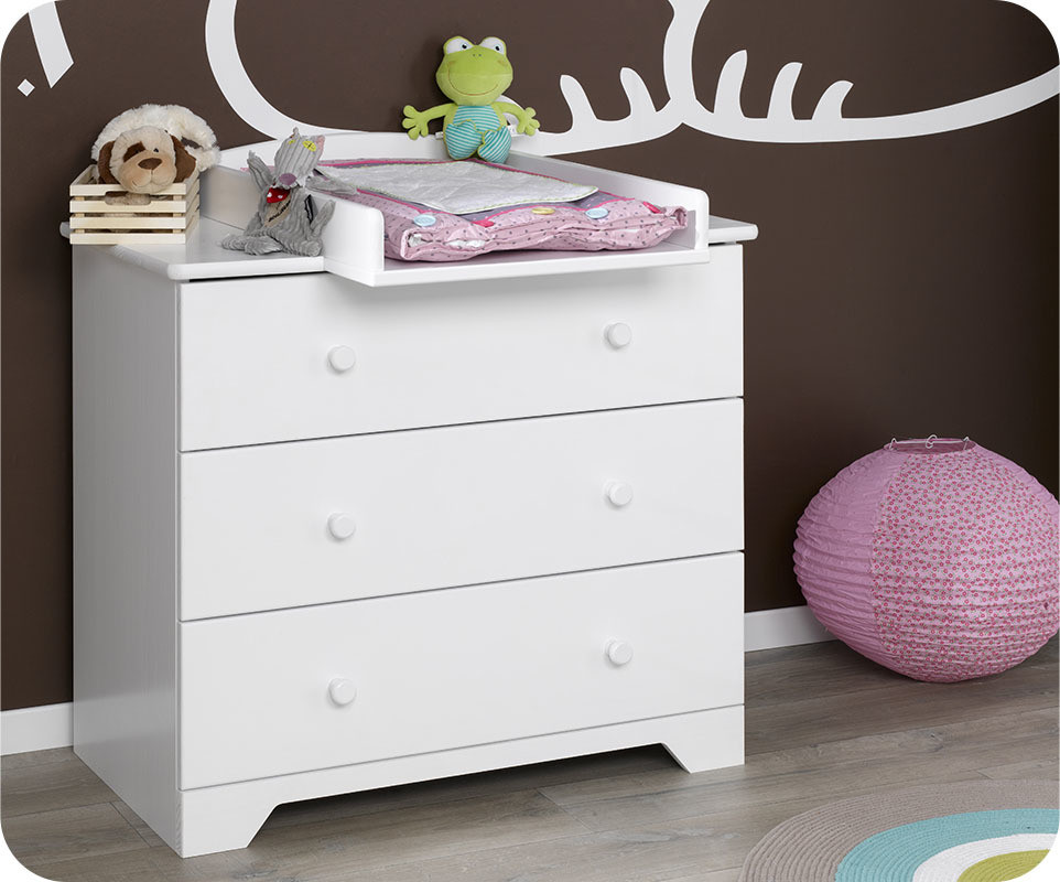 commode b b nature blanche ma chambre d 39 enfant com. Black Bedroom Furniture Sets. Home Design Ideas
