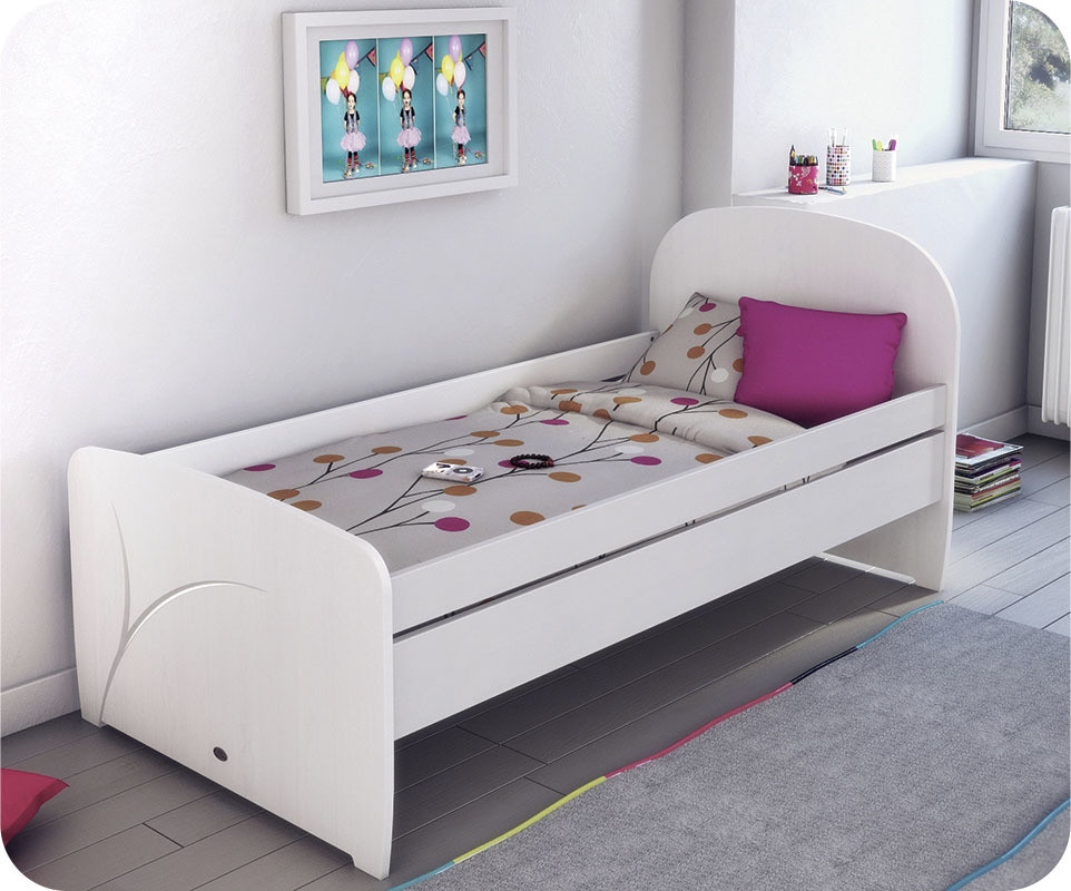 lit enfant luen blanc 90x190 cm achat vente lit enfant. Black Bedroom Furniture Sets. Home Design Ideas