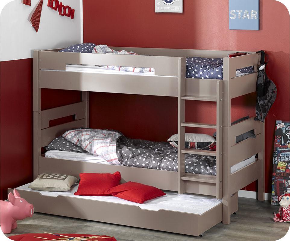 Pack lit superpos enfant bow lin 90x190 cm avec 2 matelas ma chambre d 39 - Vente privee lit enfant ...