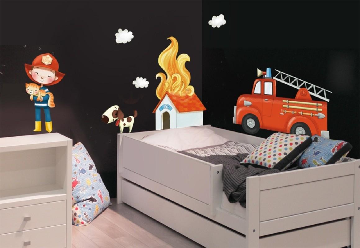 stickers les pompiers 120 x 70 cm achat vente stickers chambre enfant ma chambre d 39 enfant com. Black Bedroom Furniture Sets. Home Design Ideas