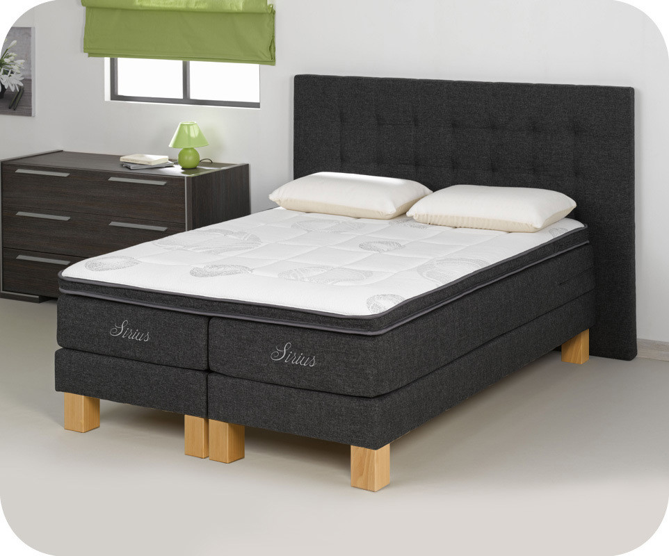 sommier sur pieds sailor 140x190 cm coloris gris. Black Bedroom Furniture Sets. Home Design Ideas