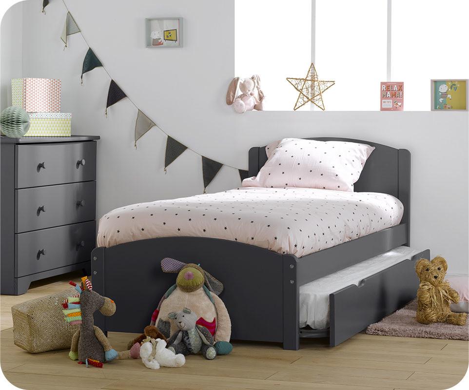 lit enfant gigogne nature gris anthracite 90x190 cm avec 2. Black Bedroom Furniture Sets. Home Design Ideas