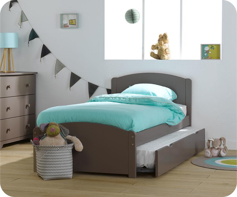 Pack lit enfant gigogne nature taupe 90x190 cm avec 2 matelas achat vente - Matelas pour lit gigogne ...