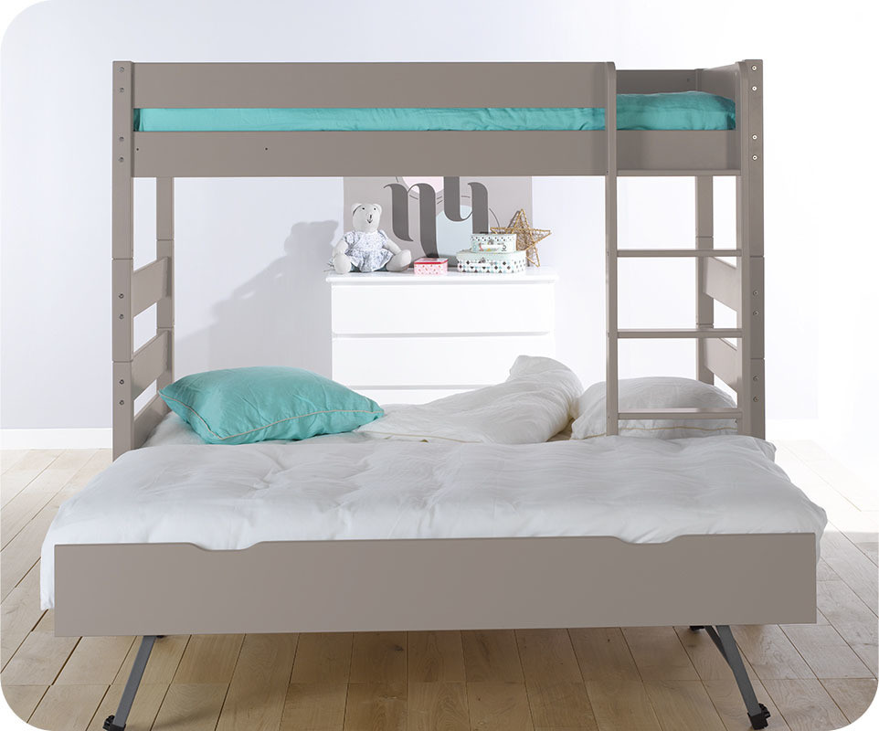 lit superpos kids lin 90x190 cm avec sommier gigogne. Black Bedroom Furniture Sets. Home Design Ideas