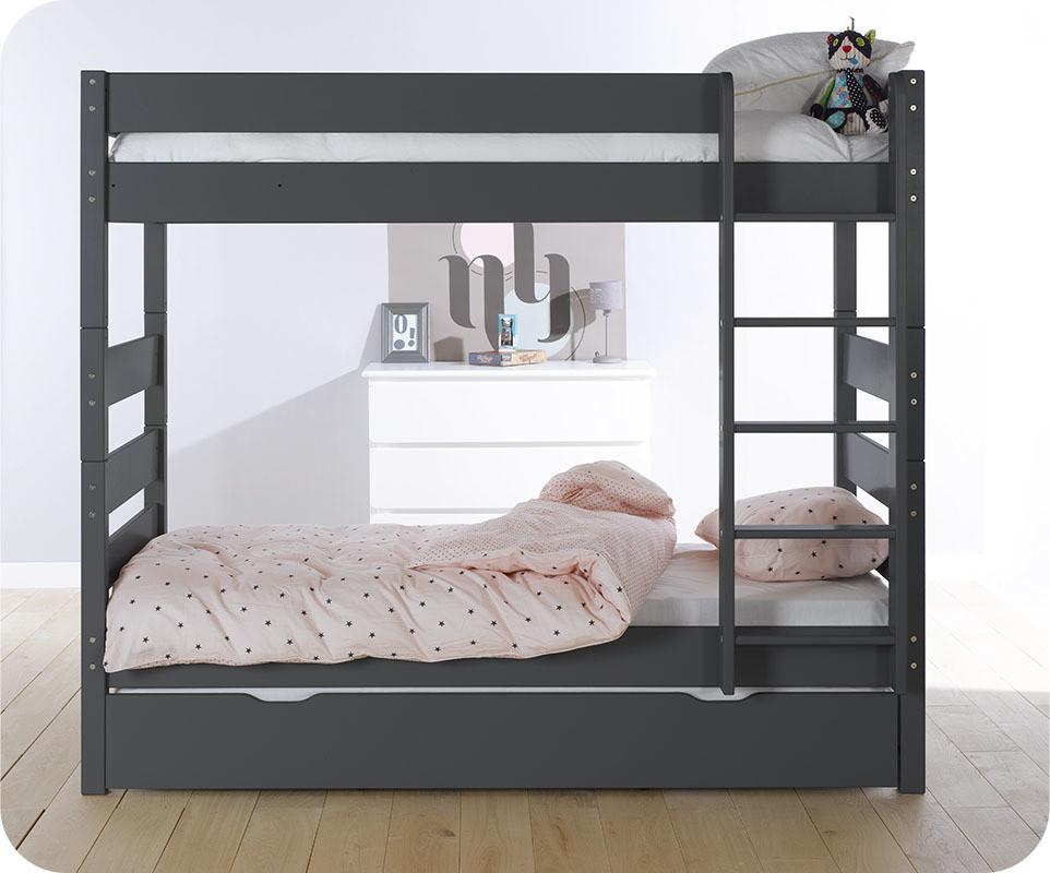 lit superpos kids gris anthracite 90x190 cm avec sommier gigogne. Black Bedroom Furniture Sets. Home Design Ideas