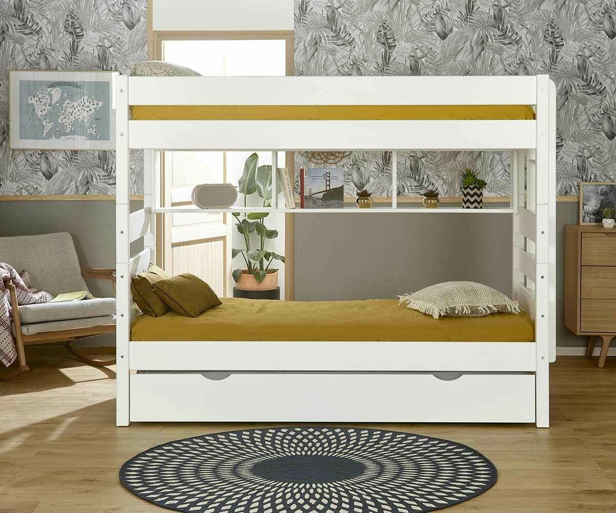 pack lit superpos kids blanc 90x190 cm avec 2 matelas. Black Bedroom Furniture Sets. Home Design Ideas