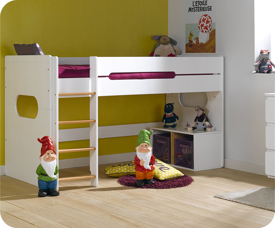 lit enfant mi hauteur spark blanc et h tre naturel 90x200 cm. Black Bedroom Furniture Sets. Home Design Ideas