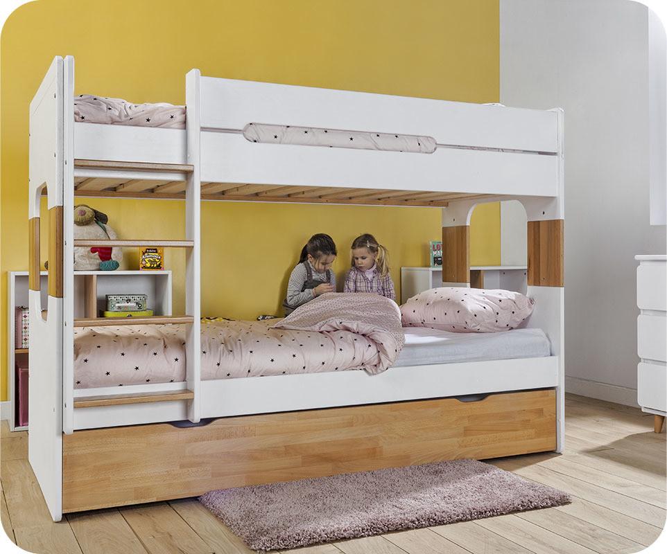 Lit superpos spark blanc h tre 90x200 cm avec sommier for Chambre avec lit superpose