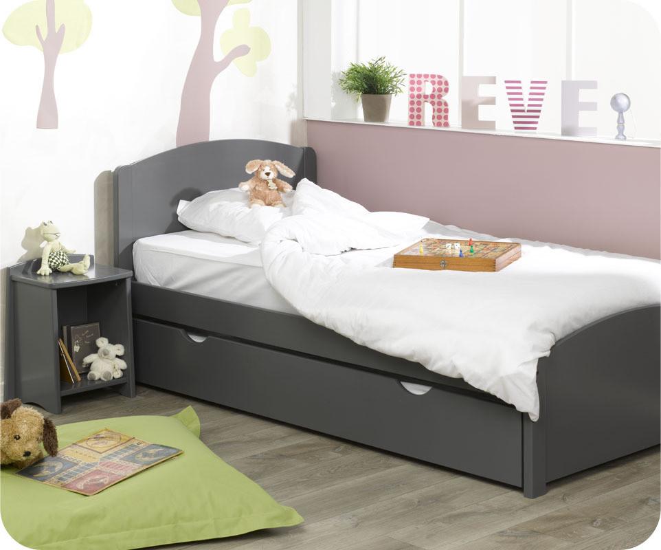 lit enfant nature gris anthracite 90x200 cm. Black Bedroom Furniture Sets. Home Design Ideas
