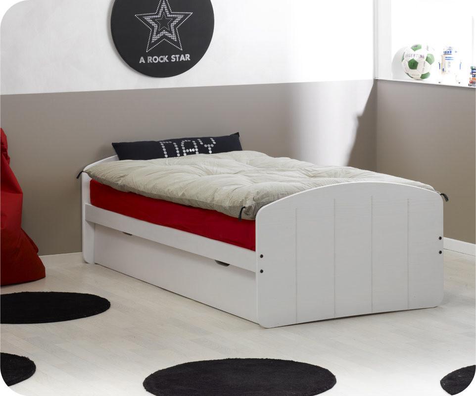 pack lit gigogne dream 39 in blanc 90x200 cm avec 2 matelas. Black Bedroom Furniture Sets. Home Design Ideas