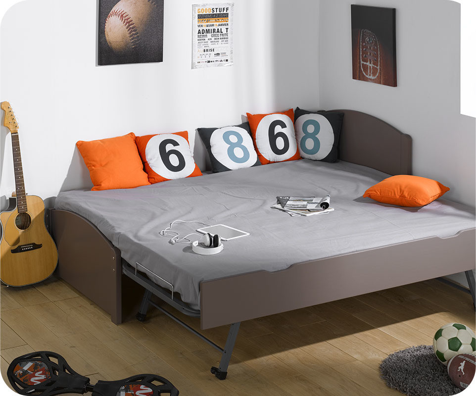 pack lit gigogne nature taupe 90x200 cm avec 2 matelas. Black Bedroom Furniture Sets. Home Design Ideas