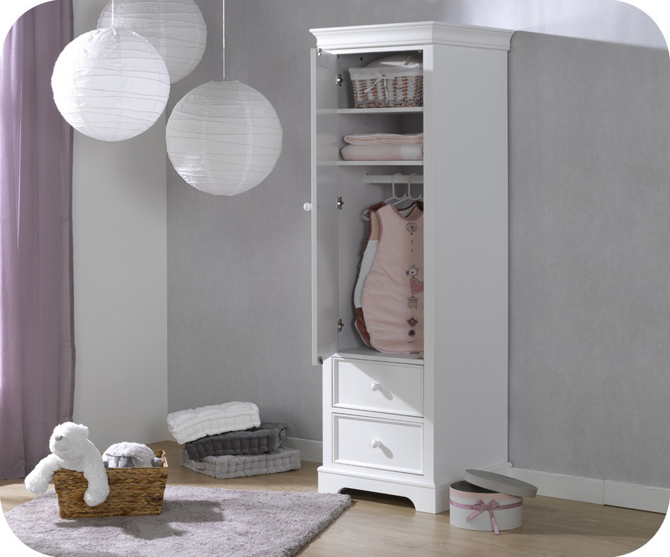 armoire b b mel blanche 1 porte achat armoire chambre b b. Black Bedroom Furniture Sets. Home Design Ideas