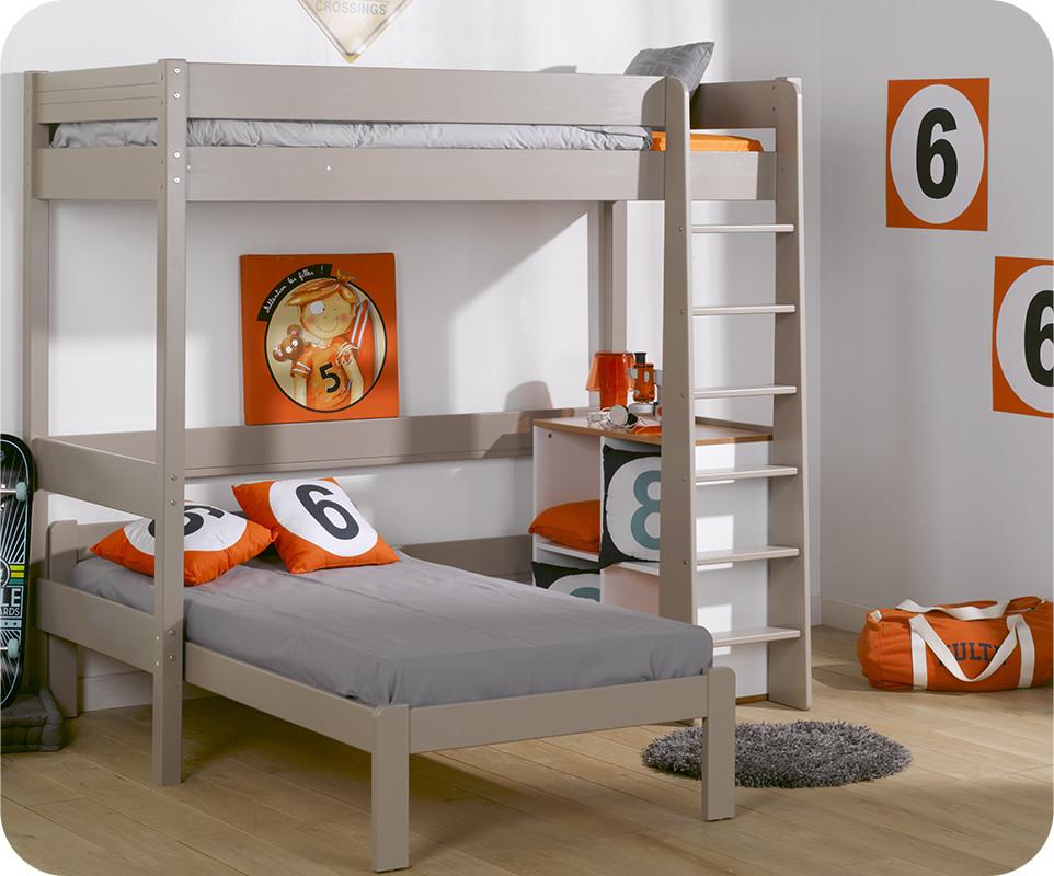 Lit mezzanine enfant clay lin avec matelas vente mobilier for Tapis chambre ado avec matelas 90x190 simmons
