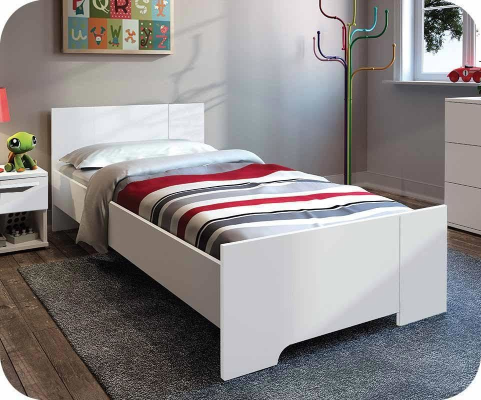 lit enfant jazz blanc 90x190 cm avec matelas achat lit. Black Bedroom Furniture Sets. Home Design Ideas