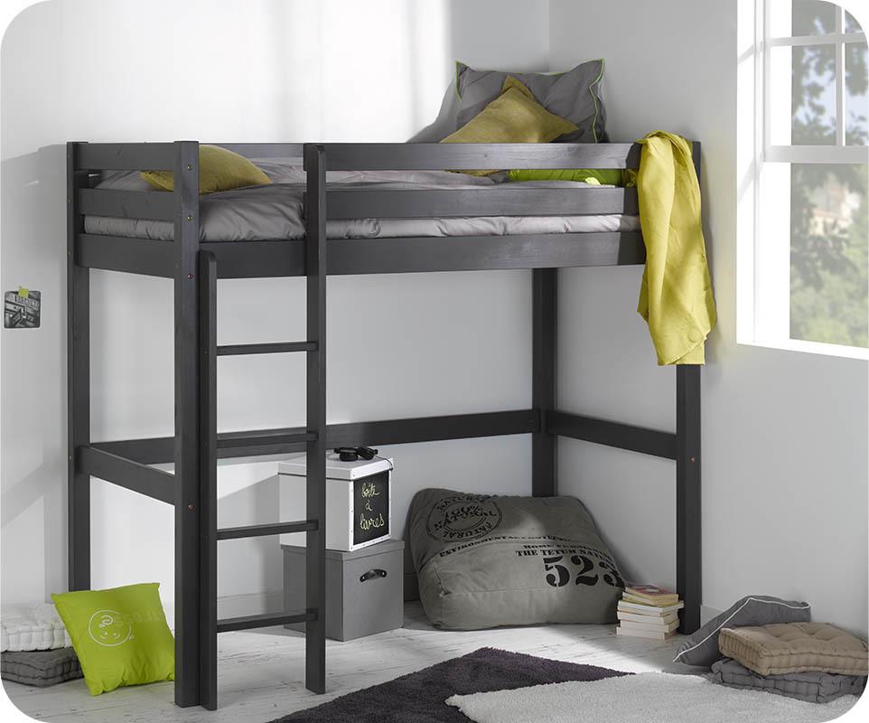 Lit enfant mezzanine cargo gris anthracite 90x190 cm - Lit mezzanine pour enfants ...