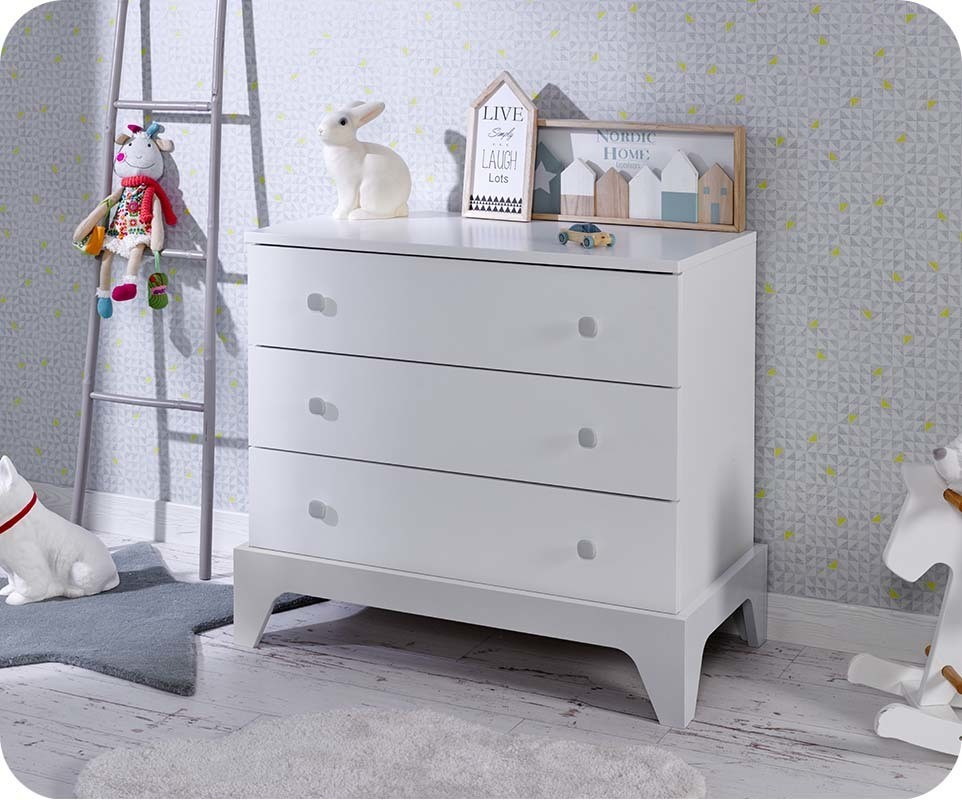 Commode b b moon blanche et gris clair chambre et - Chambre bebe blanche et grise ...