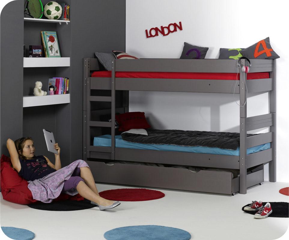 Lit superpos enfant 1 2 3 taupe 90x190 cm for Chambre avec lit superpose