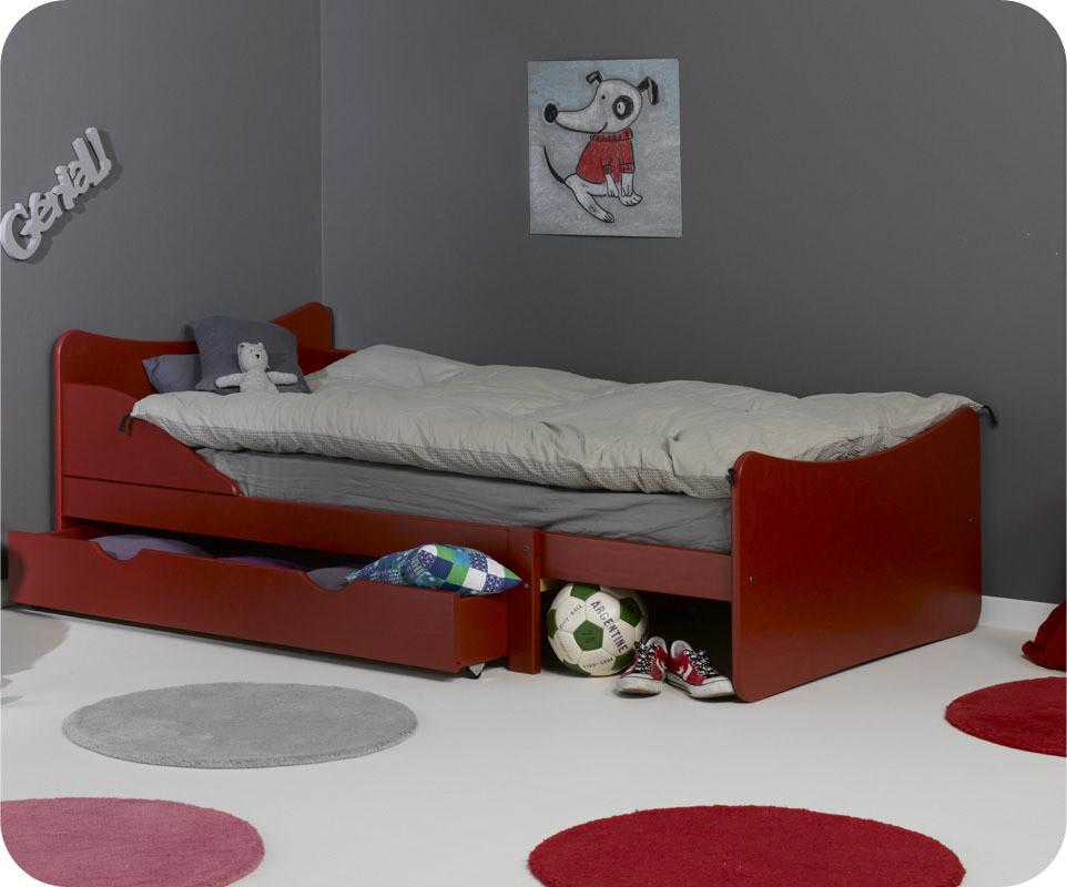 Pack lit enfant volutif ivoo rouge avec matelas ma chambre d 39 enfant - Matelas evolutif enfant ...