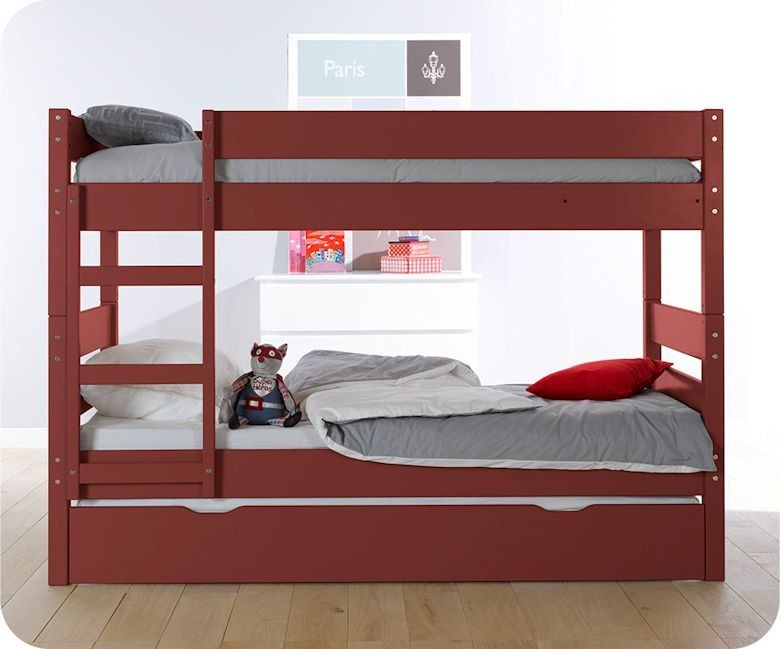 pack lit superpos enfant 1 2 3 rouge 90x190 cm avec 2 matelas. Black Bedroom Furniture Sets. Home Design Ideas