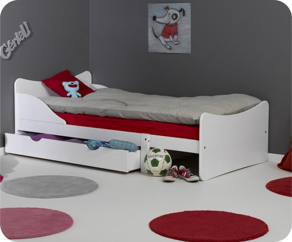 Pack lit enfant volutif ivoo blanc avec matelas et tiroir - Matelas evolutif enfant ...
