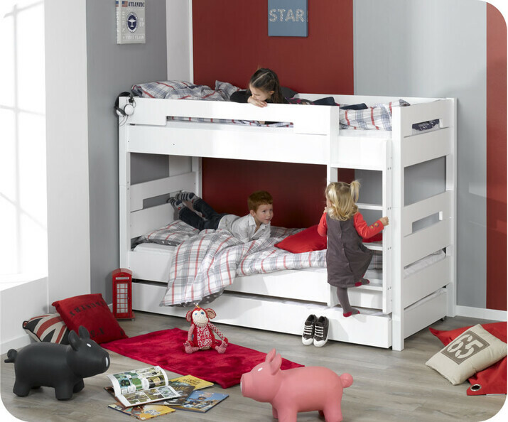 lit superpos enfant bow blanc 90 x 190 cm achat vente lit superpos enfant peinture l 39 eau. Black Bedroom Furniture Sets. Home Design Ideas
