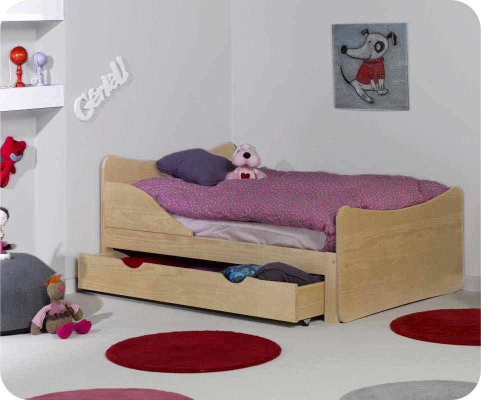 pack lit enfant volutif ivoo brut avec matelas et tiroir. Black Bedroom Furniture Sets. Home Design Ideas