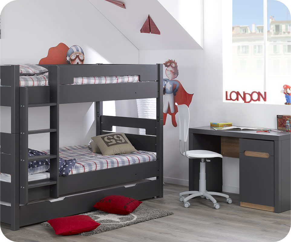 bureau enfant bow gris avec caisson. Black Bedroom Furniture Sets. Home Design Ideas