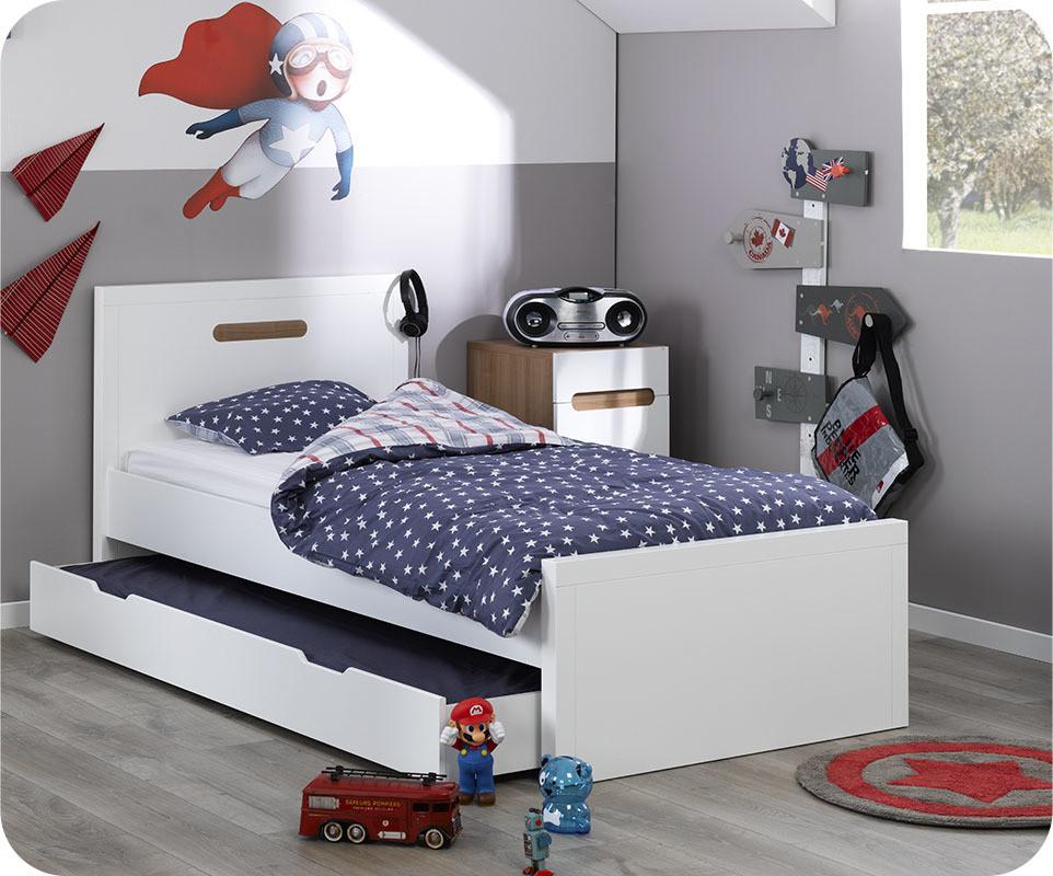 Pack lit enfant gigogne bow blanc 90x200 cm avec 2 matelas for Machambre d enfant com