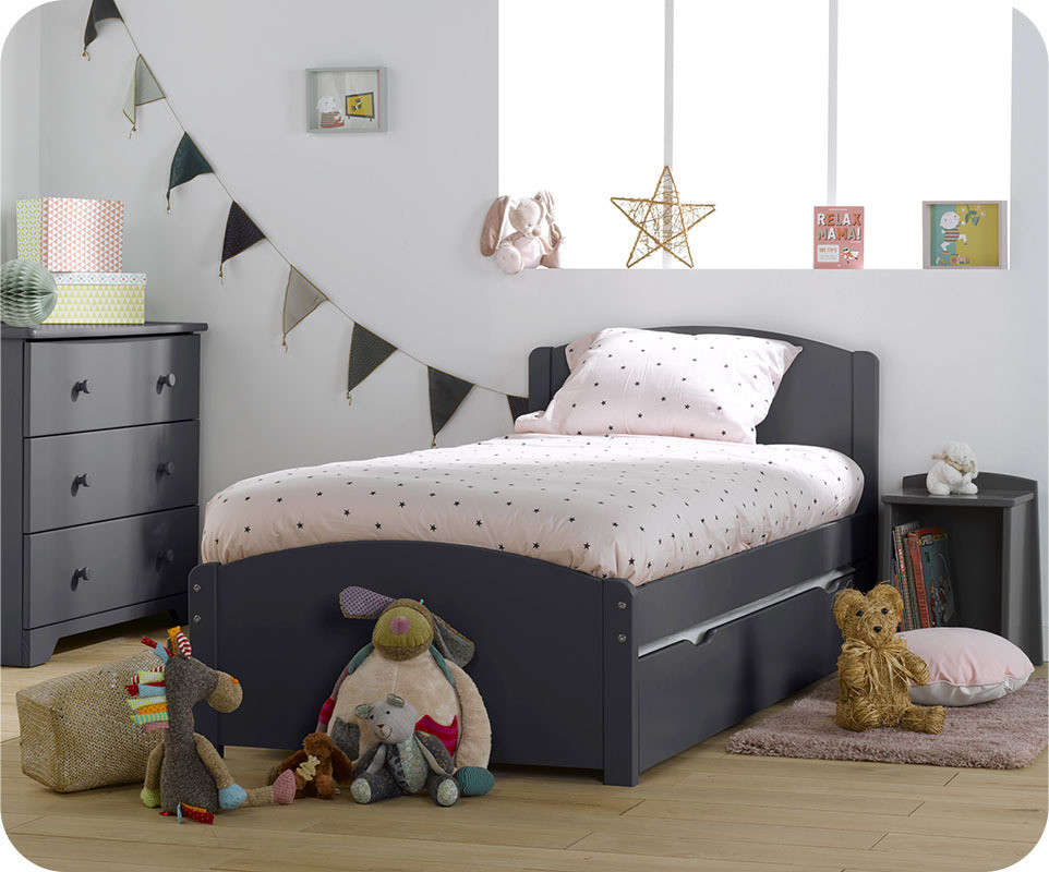 pack lit enfant gigogne nature gris anthracite 90 x 190 cm. Black Bedroom Furniture Sets. Home Design Ideas