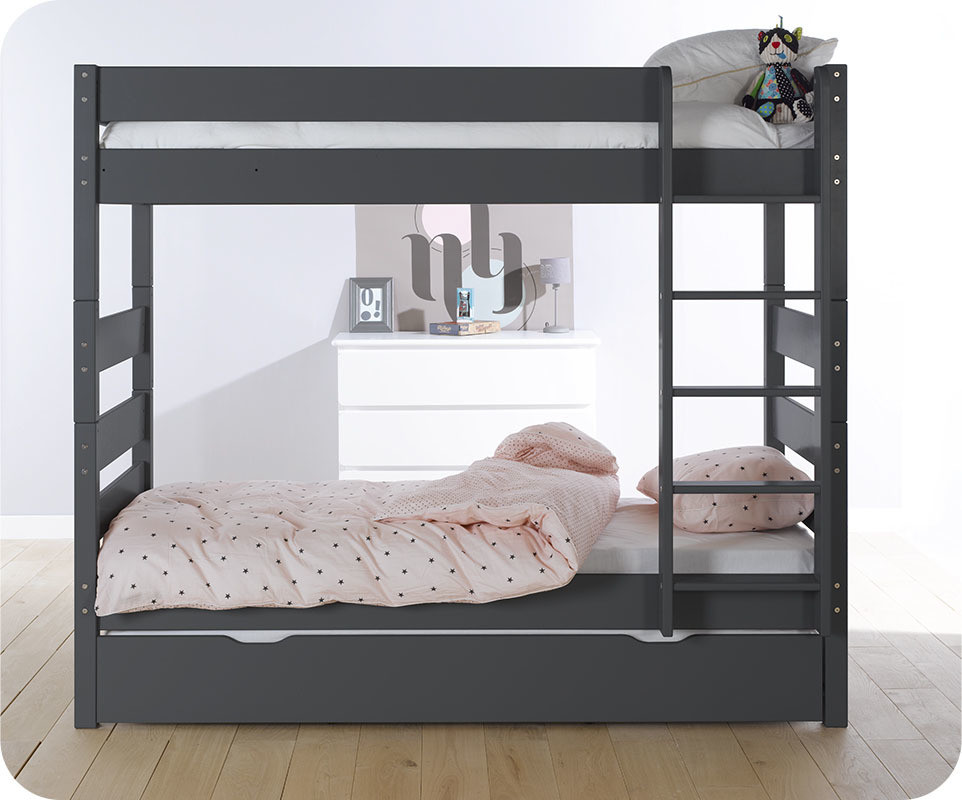 lit superpos kids gris anthracite 90x190 cm avec sommier. Black Bedroom Furniture Sets. Home Design Ideas
