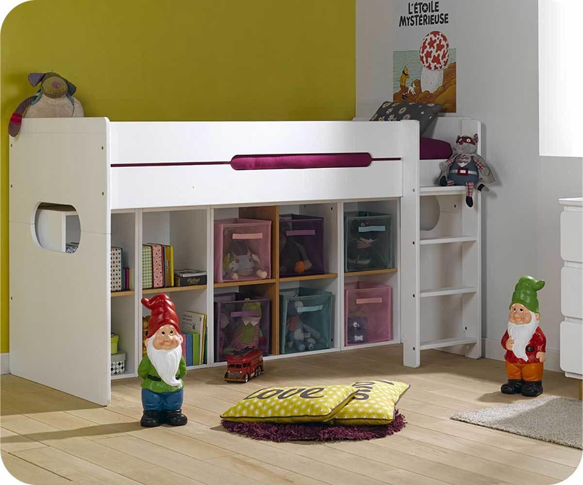Pack lit enfant mi hauteur spark blanc 90x200 cm avec matelas - Lit mi hauteur avec bureau ...