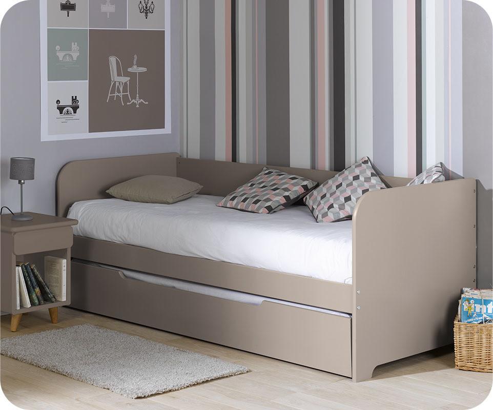 Lit banquette gigogne bali lin 80 x 200 cm commandez votre lit gigogne pour - Banquette lit double ...