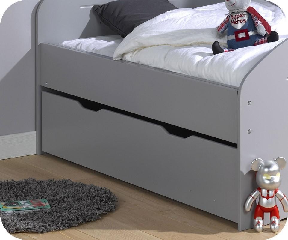 Tiroir lit enfant evolutif spoom gris tiksy 90x140 cm - Lit enfant tiroir lit ...