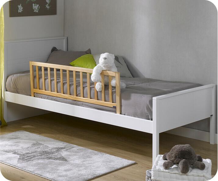 Pack lit enfant nature brut 90x190 cm avec sommier et - Lit 90x190 avec barriere ...