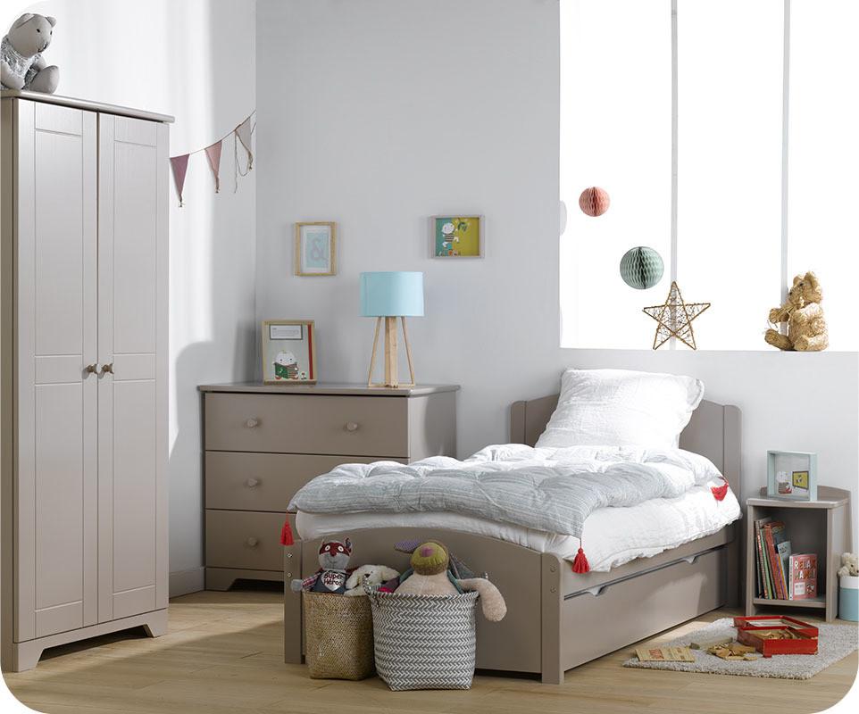 Chambre enfant nature lin avec armoire enfant - Set de chambre bois massif ...