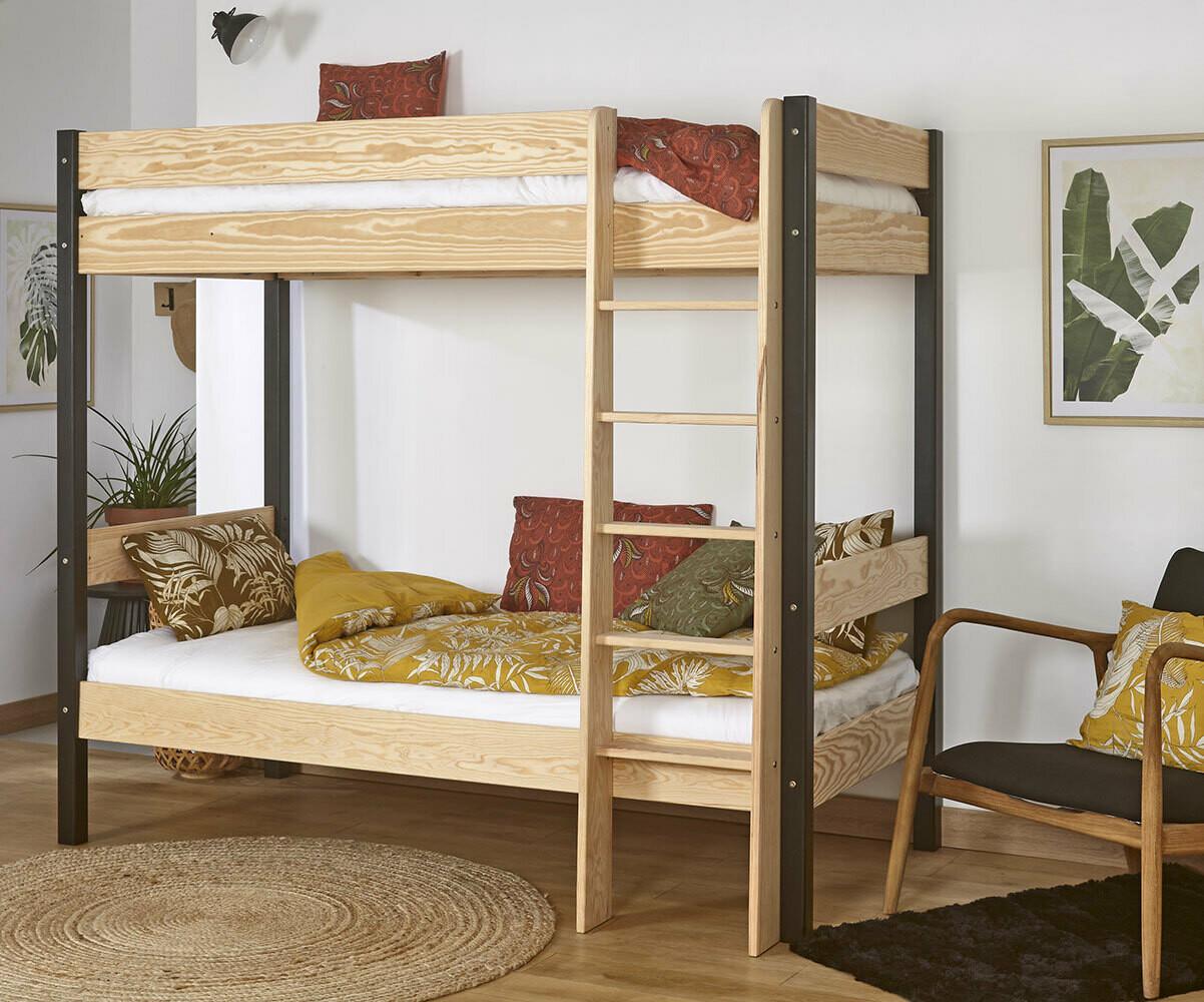 lit superpos enfant clay blanc avec matelas vente. Black Bedroom Furniture Sets. Home Design Ideas