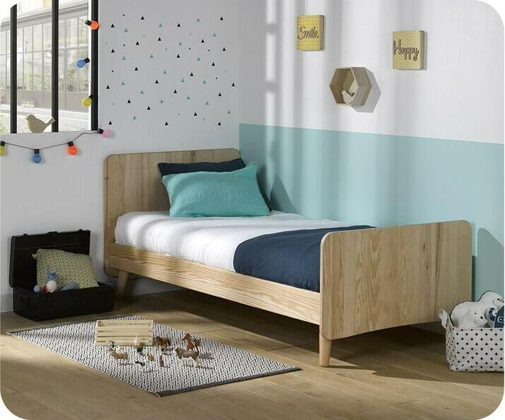 lit enfant willow brut 90x190 cm avec pieds sommier et matelas. Black Bedroom Furniture Sets. Home Design Ideas